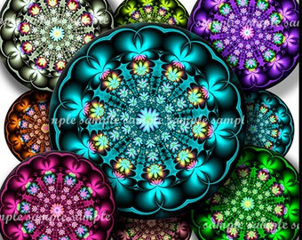 INSTANT DOWNLOAD Fractal Flowers (748) 4x6 and 8.5x11 ( 30mm ) Printable Download Digital Collage Sheet glass tiles cabochon pendants images