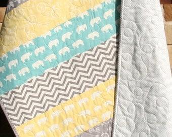 Gender Neutral Quilt, Organic Birch Fabrics, Yellow Aqua Pool Teal Blue Grey, Boy or Girl, Chevron Elephant Minimalist, Ready to Ship