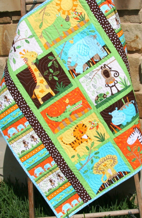 Jungle Baby Quilt Gender Neutral Crib Bedding Boy Or Girl
