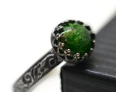 Chrome Diopside Ring, Forest Green Renaissance Ring, Natural Gemstone, Oxidized Jewelry, Oxidized Floral Ring