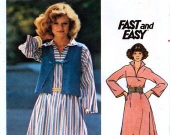 Butterick 4719 Vintage 70s Misses' Dress and Vest Sewing Pattern - Uncut - Size 16 - Bust 38