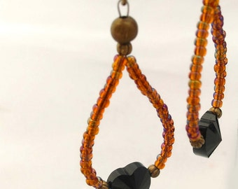 Swarovski Crystal, Faceted Black Hearts with Dark Amber  Beads, Tear Drops, Gold Plated Brass Dangle Earrings