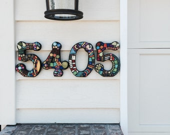 MOSAIC House Numbers - Finished Orders Photographed at Their New Homes - SAMPLES ONLY - Please place your order on my home page......