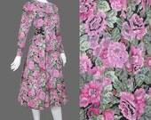 SALE - 80s Dress / Carol Little Pink Black Floral Peplum Dress / 1980s Dress / Floral Print Tea Length Midi Dress / S/M