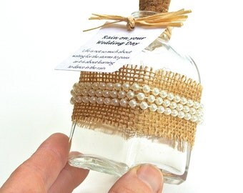 Wedding Keepsake Bottle- Rustic Wedding Decor, Rainy Wedding Day, 3.4 Oz Bottle with Burlap and Pearls, DIY Favors, Table Decoration