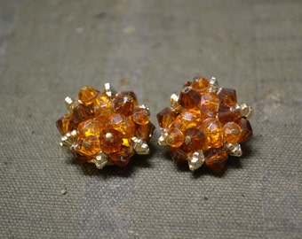 1950s Amber Bead Cluster Clip Earrings