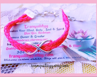 Infinity Bracelet , Infinity Charm Adjustable Bracelet, Hot Pink Braided Faux Leather By: Tranquilityy