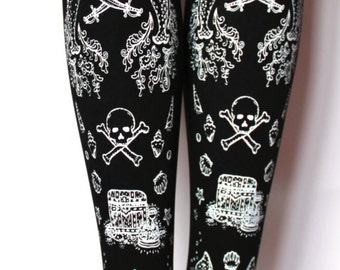 Tattoo Tights White Black Narwhal Medium Tall White on Black Sailor Skull Anchor