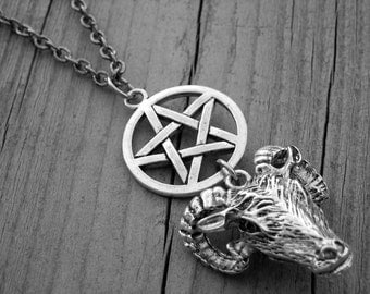Silver Ram Goat Head and Pentagram Pentacle Necklace Gothic Goth Satanic Jewelry Heavy Metal Witch Craft Occult Witchcraft Satan Baphomet