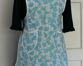 Blue and White Floral Vintage Fabric Full Apron