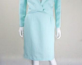 Original 1960s Vintage Mint Green Jackie O Skirt Suit UK Size 10