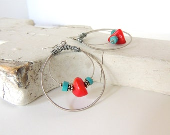 GUITAR STRING EARRINGS - Coral and Turquoise Earrings - teens and adults - eco-friendly/upcycled jewelry - under 30.00