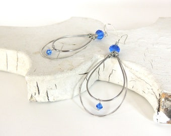 Guitar String Earrings - KC ROYALS - September Birthstone - royal blue - eco-friendly/upcycled jewelry - under 25.00
