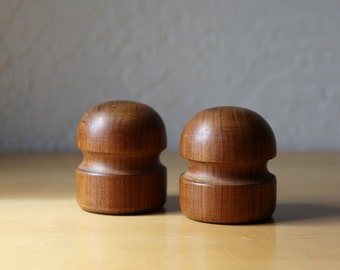 Midcentury Teak Salt and Pepper Shakers