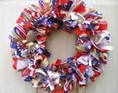 Red White Blue Door Wreaths, Patriotic Wreath, Patriotic Decor, Military Decor, 4th of July Fabric Ribbon Wreath, Americana Wreath