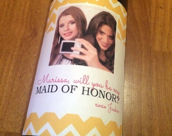 Custom Will You Be My Bridesmaid Wine Labels, Maid of Honor, Bridesmaid Gift, Bridal Party, Wedding, Personalized, Label, Sticker, Favor