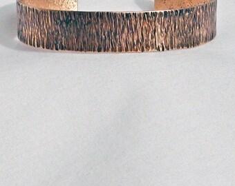 Hand Forged Bark Textured Bronze Bracelet for Him or Her