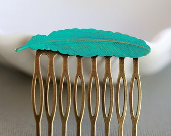Feather Brass Hair Comb, Wedding Bridal Hair Comb.Flowers Collage Hair Comb, Bridal Bridesmaid Comb,Summer,Gift for her