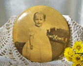 Antique Baby Photo Pin 1898 Chicago Little Girl Pin Lock Baby Portrait Large Photo Pin Nursery Decor Sepia Tone Photography
