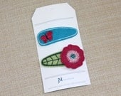 Girls hair accessories magenta pink poppy flower and turquoise and pink butterfly 100% Wool Felt Snap clips