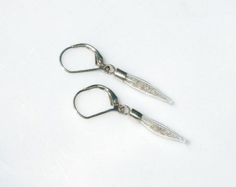 Raw Diamond Earrings - Rough Natural Diamond Crystals in Hand Blown Glass Vials Recycled Silver Leverback Earrings