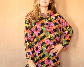 keith haring style VERSACE 90s abstract SURF slouchy WILD baroque oversize blouse shirt