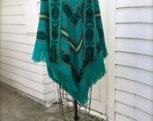 Inca Imports Turquoise Poncho, Aztec Design, Knit Cape with Fringe, Black, Mexican Blanket, Chevron Print Shawl, Aqua Blue, Boho Hippie