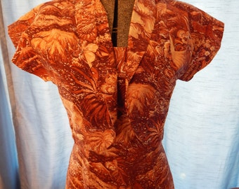 1950's Alfred Shaheen Hawaiian Dress with Bolero