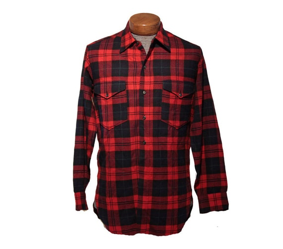 Elbow patch flannel vintage red pendleton 50 39 s flannel for Mens flannel shirt with elbow patches