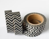50% OFF SALE - 1 Roll of Black and White Chevron Zig Zag Masking Tape / Japanese Washi Tape (.60 inches wide x 33 feet long)