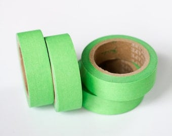WASHI TAPE CLEARANCE - 1 Roll of Lime Green / Neon Green Washi Tape / Decorative Masking Tape (.60 inches wide x 33 feet long)