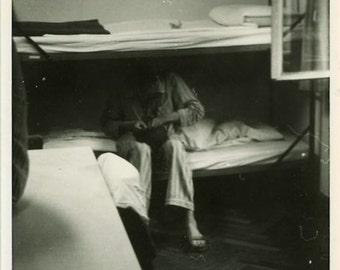 "Vintage Photo ""Waking up Past Noon"" Snapshot Antique Photo Old Black & White Photograph Found Paper Ephemera Vernacular - 150"
