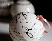 large christmas bauble, white porcelain christmas ornamnets, reindeer decorations, christmas in july