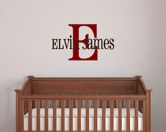 Custom Name & Monogram Vinyl Decal - Children's Name Vinyl Decal, Home Decor, Bedroom Decor, Children's Monogram and Name, Lettering 32x18.5