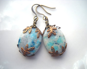Blue and bronze stone earrings: For Daphne - aqua blue earrings, light blue earrings, drop earrings, brass earrings, bohemian earrings,