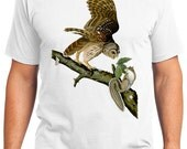 Barred Owl Bird Retro Men & Ladies T-shirt - Gift for Bird Lovers and Ornithologist (idc046)