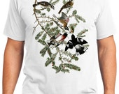 Rose-breasted Grosbeak Bird Retro Men & Ladies T-shirt - Gift for Bird Lovers and Ornithologist (idc127)