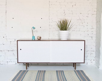 "64"" Mid Century Modern Inspired Hand Crafted Credenza // Record Cabinet // Bookshelf with Sliding Pegboard Doors  - Custom"