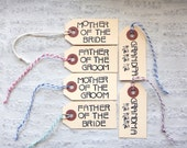 One Small Wedding Tag for Mother of the Bride Groom Father Grandparents / Unique Stamped Modern Art Deco Font Manila Hang Tag