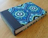 Fabric Photo Album/ Small Photo Scrapbook in Blue, Yellow & Gray