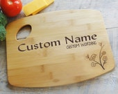Personalized Cutting Board Wood burned Bird on Branch Design