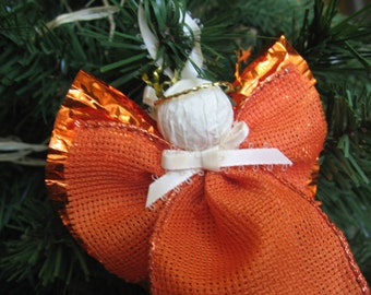 Orange Burlap Angel Ornament, Rustic Christmas Angel, Tree Ornament, Angel Decor, Primitive Decor, Orange Decor, Christmas SnowNoseCrafts
