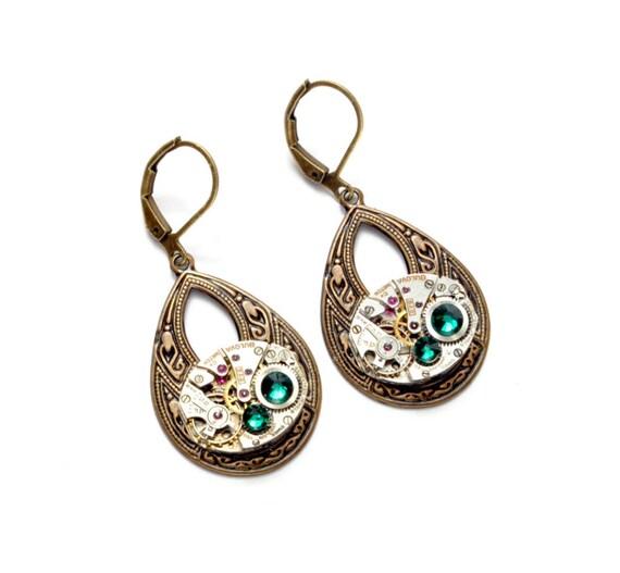 MAY Steampunk Earrings TEARDROP Steampunk Wedding Jewelry Antique Brass Dangle Earrings Victorian Steampunk Jewelry By Victorian Curiosities