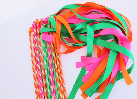 Enchanted Wedding Ribbon Wands 50 Pack with Bells IN YOUR COLORS (shown in emerald, shocking pink, and orange) Perfect ceremony exits favors