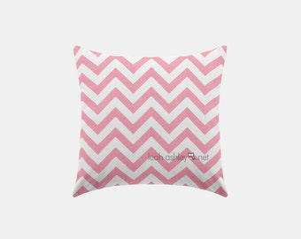 Square Pillow Cover - Pink Chevron - S1
