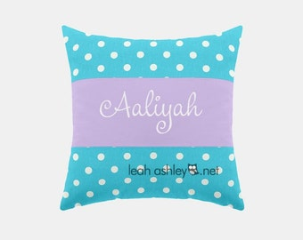 Square Name Pillow Cover - Turquoise Polka Dot, Lavender Solid - Piper