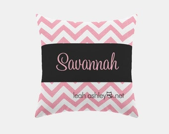 Square Name Pillow Cover - Pink Chevron, Solid Black - Savannah