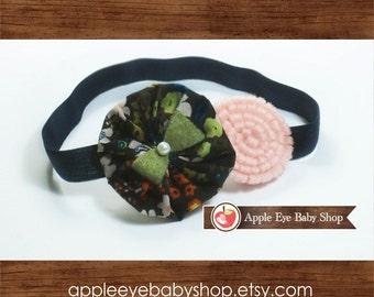 Floral Baby Headband, Newborn Headband, Infant Headband, Pink Felt Flower, Dark Blue Elastic, Baby Girl Headband, Baby Gift, Spring Headband