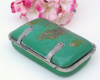 Antique Celluloid Clutch / Silver Metal Box / Art Nouveau Cigarette Case - Green Trinket Box
