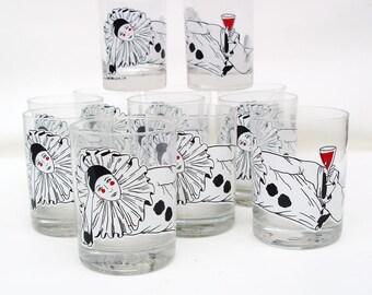 Vintage Barware | Rocks Glasses | Whiskey Glasses | Lowball Bar Glasses | Tastesetter Pierrot Doll